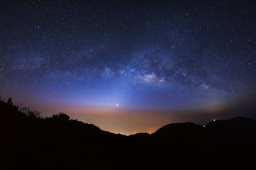 Panorama Milky Way Galaxy at Doi Luang Chiang Dao before sunrise