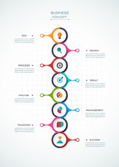 Vector infographic template with timeline, paper label, integrated circles. Business concept with options. For content, diagram, flowchart, steps, parts, timeline infographics, workflow layout, chart