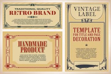 Vintage frame design for labels