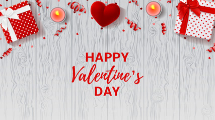 Happy Valentine's Day greeting web banner. Top view on romantic composition with gift boxes and red case for ring. Beautiful backdrop with candles on wooden texture. Vector illustration.