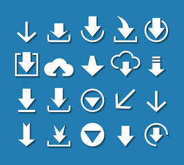 White download arrow icon set on blue background. Vector design elements