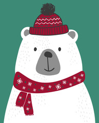 cute polar bear with knitted scarf and beret