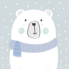 cute polar bear illustration vector