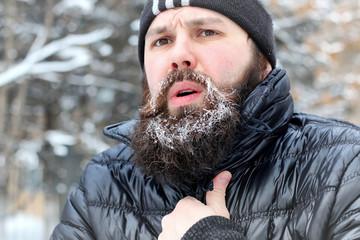 bearded man hat winter
