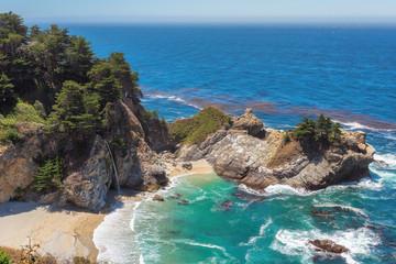 Wild beach and falls on the California coast