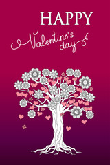 Violet Valentine card with tree of flowers and hearts