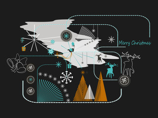New Year and Christmas flat line design concept for greeting card and banner.