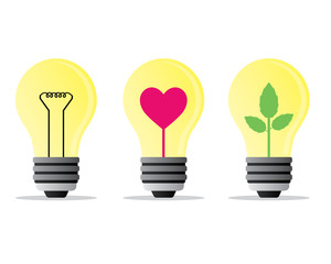 bulb heart and tree illustration