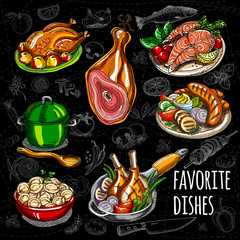 Set color sketch meat, fish, side dishes. Favorite dishes, soup, chicken, tomatoes, mushrooms, onion, salmon, meat, sausage, grill, ham, potato, meat dumplings. Hand draw vector illustration.