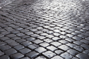 cobble stone pavement in Rome city Wall mural