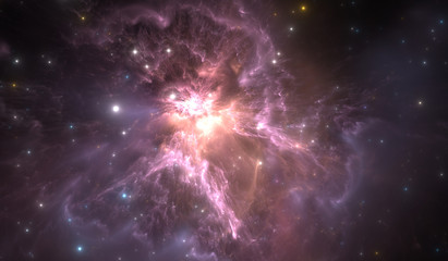 Space background with nebula and stars. Glowing nebula is the remnant of a supernova explosion