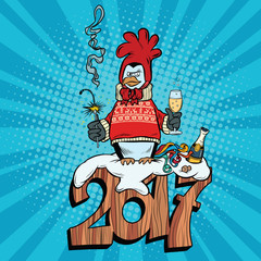 The penguin dressed as a rooster, new year 2017