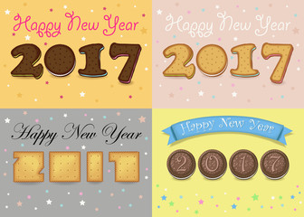 Happy New Year 2017. Cookies font