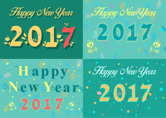 Happy new year 2017. Vintage floral font