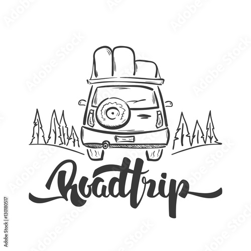 """Vector illustration: Hand drawn travel car and ..."