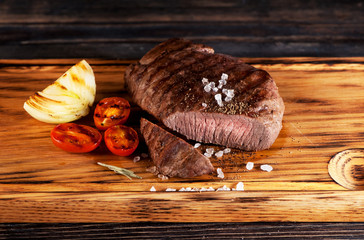 Wall Mural - medium rare grilled beef steak