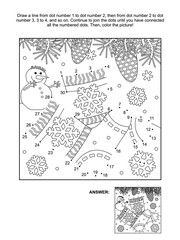 Winter or winter holidays themed connect the dots picture puzzle and coloring page with knitted socks. Answer included.