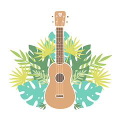 Ukulele and tropical leafs.