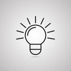 Векторная иллюстрация иконка простой символ плоский для веб bulb лампа лампочка идея