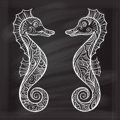 Stylized seahorses on a chalkboard background
