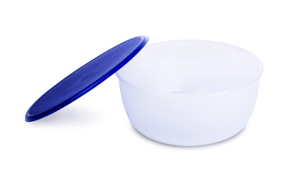 Blue plastic bowl
