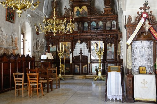 Religious altars inside the Arkadi Monastery church, Crete.