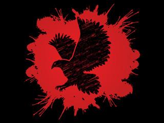 Eagle flying designed using grunge brush on splash blood background graphic vector.