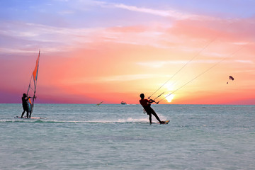 Watersport on theCaribbean Sea at Aruba island at sunset