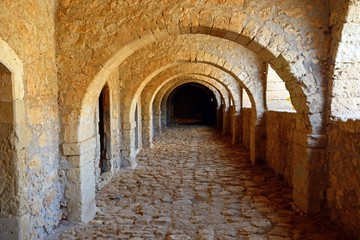 Fototapeta Passageway in the West Gate (Klaoustra) at the Arkadi Monastery, Crete.