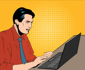 man with computer in office comics illustration