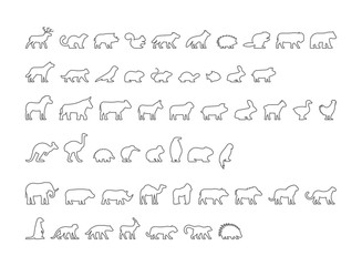 Vector black set of outline silhouettes pets and farm animals.