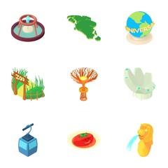 Country Singapore icons set. Cartoon illustration of 9 country Singapore vector icons for web