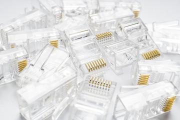 Transparent ethernet internet rj-45 connectors background on white