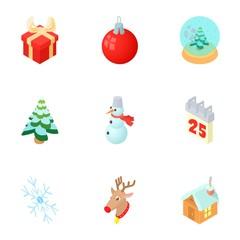 New year holiday icons set. Cartoon illustration of 9 new year holiday vector icons for web