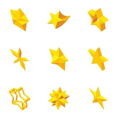 Kind of stars icons set. Cartoon illustration of 9 kind of stars vector icons for web