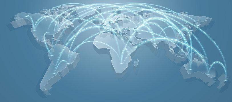 World Map Flight Path Background