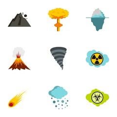 Natural catastrophe icons set. Flat illustration of 9 natural catastrophe vector icons for web