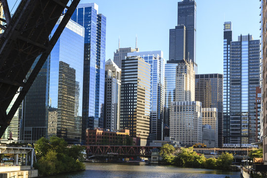 Chicago River and towers including the Willis Tower, formerly Sears Tower, with a disused raised rail bridge in the foreground, Chicago, Illinois