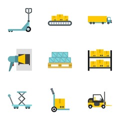 Cargo packing icons set. Flat illustration of 9 cargo packing vector icons for web