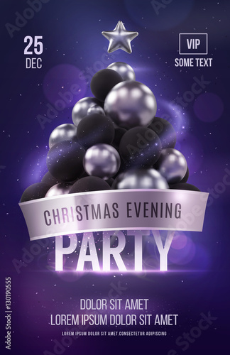 Christmas Poster Or Flyer Template With Silver Christmas Tree Stock