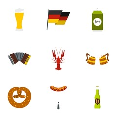 Beer fest icons set. Flat illustration of 9 beer fest vector icons for web