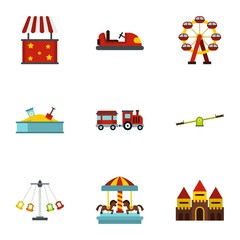 Entertainment for children icons set. Flat illustration of 9 entertainment for children vector icons for web