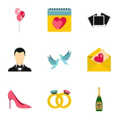 Marriage ceremony icons set. Flat illustration of 9 marriage ceremony vector icons for web