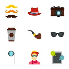 Hipster culture icons set. Flat illustration of 9 hipster culture vector icons for web