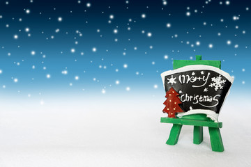 Merry christmas label with White Snow. For Season Greetings. and