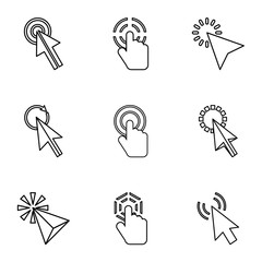 Pointer of computer icons set. Outline illustration of 9 pointer of computer vector icons for web