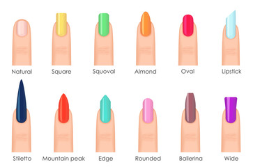 Nails shape icons set. Types of fashion bright colour nail shapes collection. Fashion nails type trends. Beauty spa salon colorful woman fingernails set.