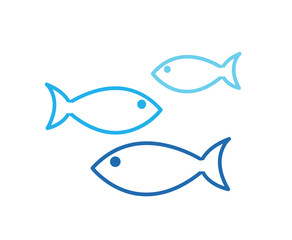 Aquarium Fishes set of vector icons