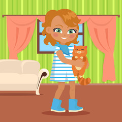 Girl Holds Small Cat