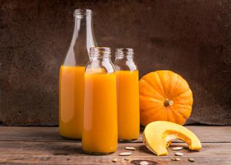The fresh juice of ripe pumpkin bottled in various glass bottles